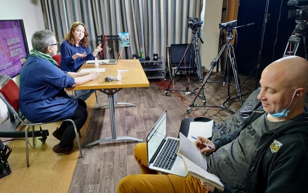 Съемка интервью в студии